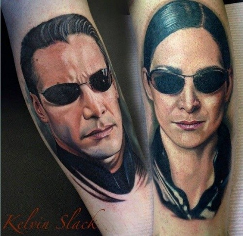 3D lifelike realistic Matrix main heroes Neo and Trinity in sunglasses colored tattoo by Kelvin Slack