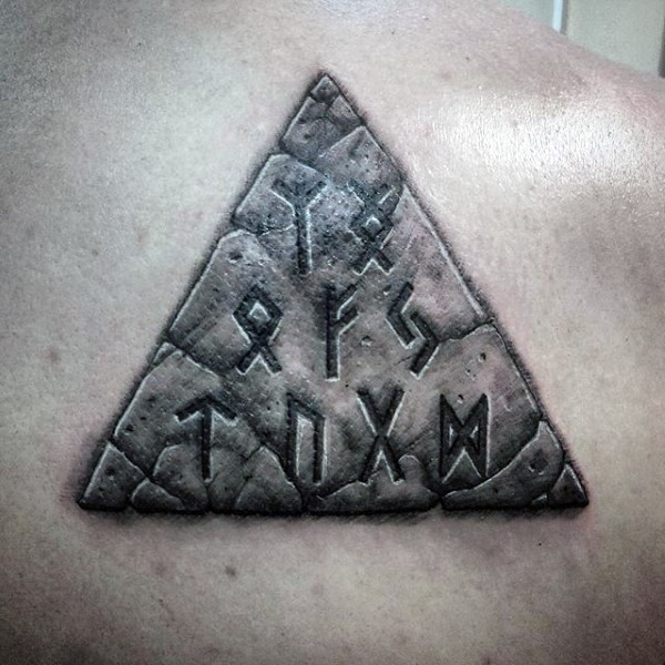 3d like big ancient triangle shaped tablet with lettering for Stone tattoo letters