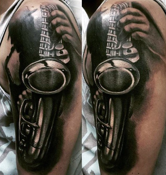 3D like big black and white sax tattoo on arm