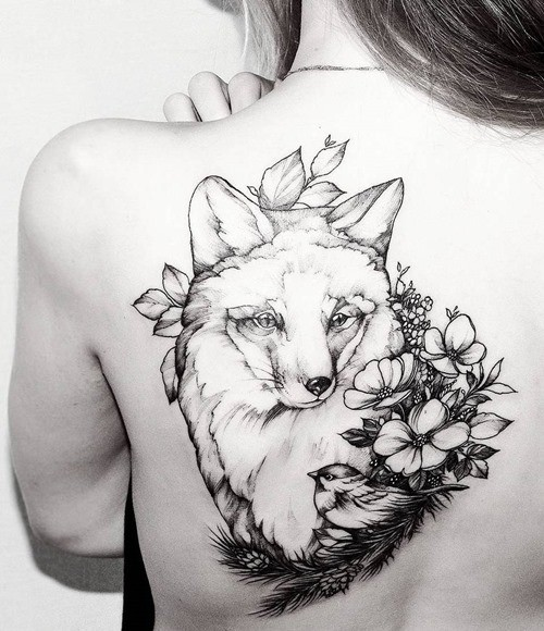 3D like big black ink natural looking on upper back tattoo of sweet fox and little bird