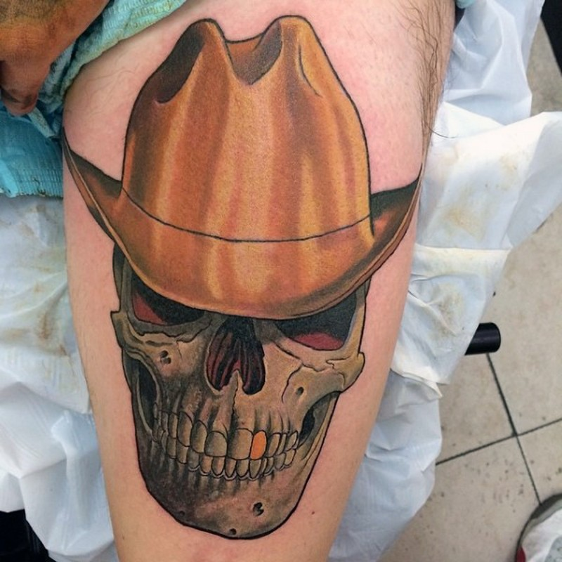 3d like big colored cowboy skull with hat and golden tooth on thigh. Black Bedroom Furniture Sets. Home Design Ideas