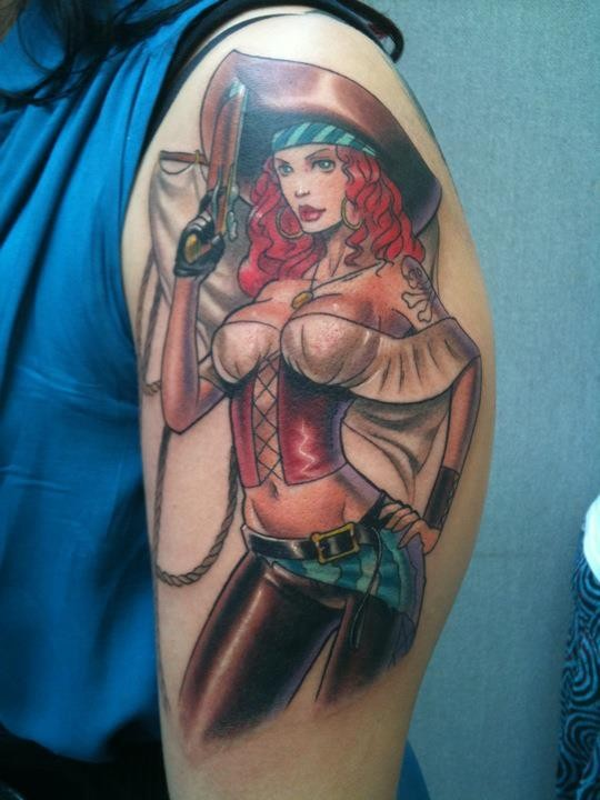 3D like big colored seductive pirate woman tattoo on shoulder