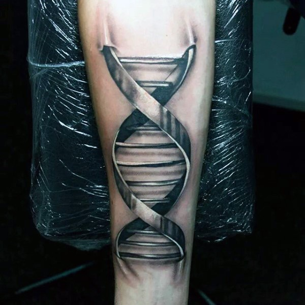 3D like black and white iron like DNA tattoo on arm