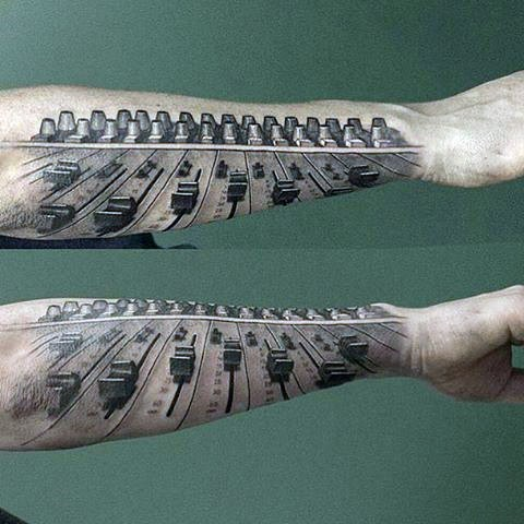 3D like black and white music mixer tattoo on arm