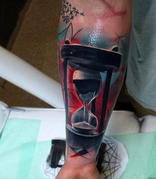3D like black and white sand clock tattoo on wrist