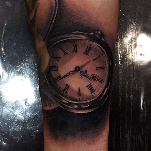 3D like black ink antic pocket clock tattoo on arm