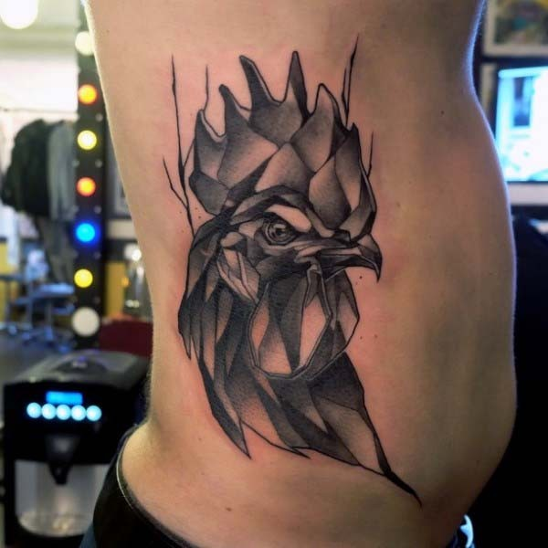 3D like black ink cock tattoo on side