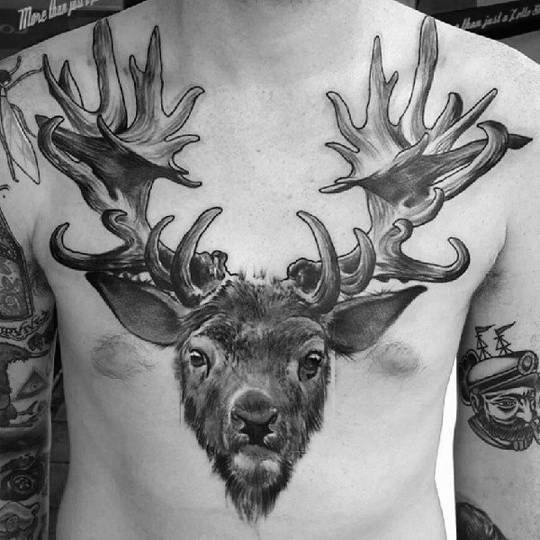 3D like black ink large chest tattoo of deer head