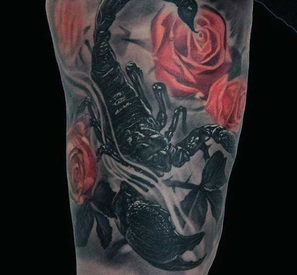 3D like black ink scorpion with flower tattoo on thigh