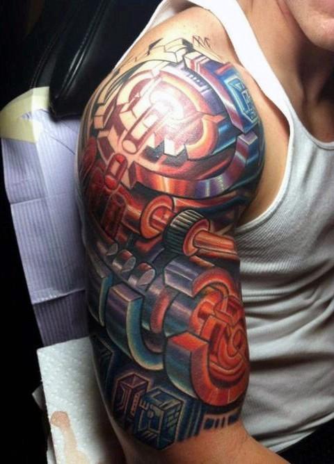 3D like colored alien style on half sleeve tattoo of various mechanisms