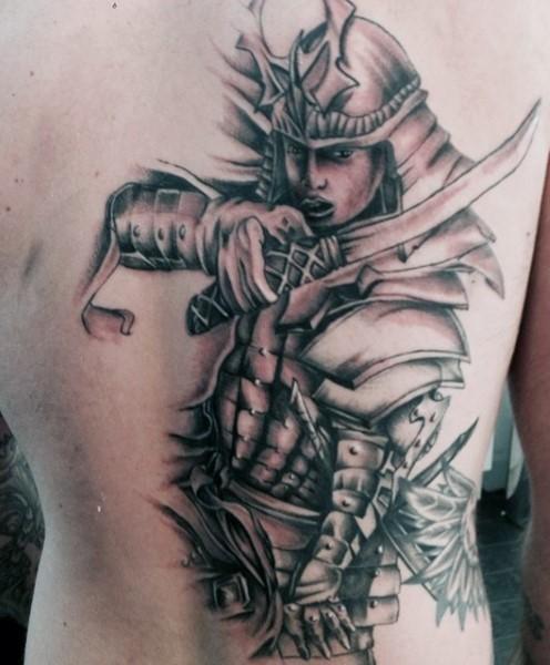 3D like colored big detailed samurai warrior tattoo on whole back