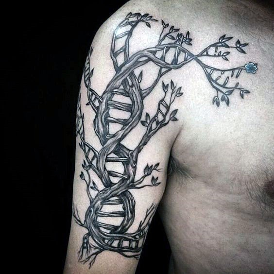 3D like colored DNA shaped tree with flower tattoo on shoulder