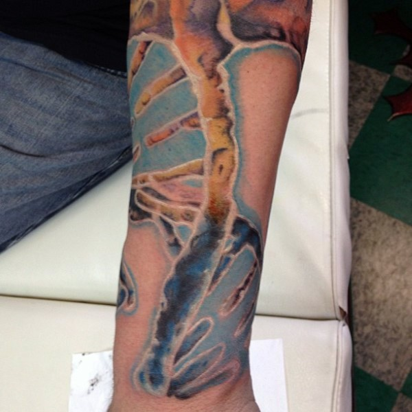 3D like colored DNA tattoo on sleeve