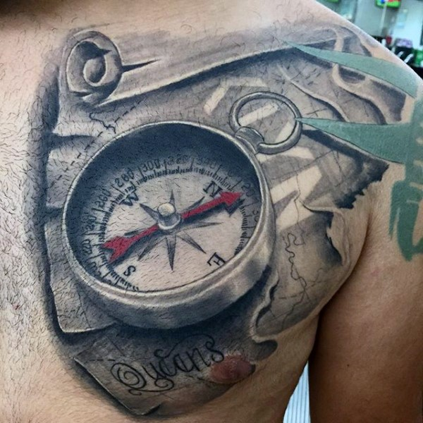 3d Like Colored Nautical Compass With Map Tattoo On Chest