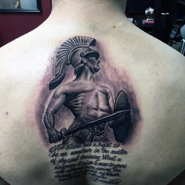 3D like cool painted Greece warrior with lettering tattoo on back