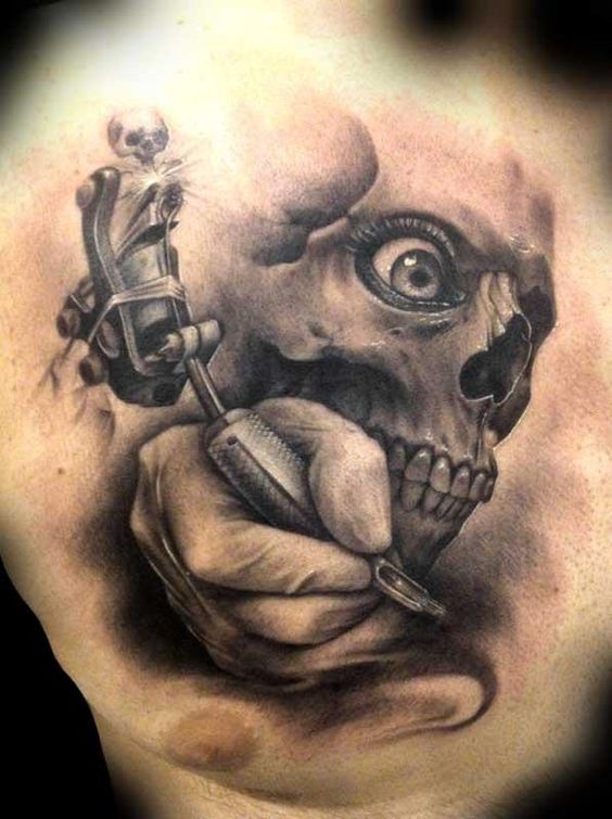 3D raccapricciante scheletro tatu - master tatuaggio su petto