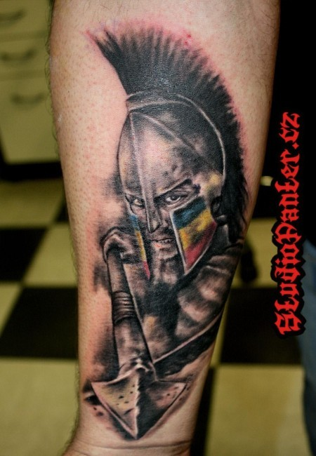 3D like detailed colored Spartan warrior tattoo on forearm stylized with national flag