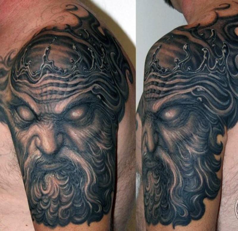 3d like detailed evil poseidon monster tattoo on shoulder area. Black Bedroom Furniture Sets. Home Design Ideas