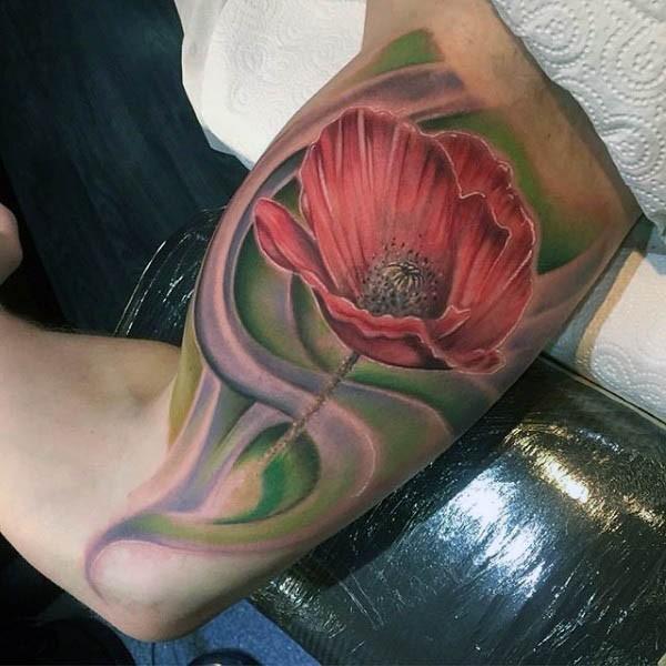 3D detaillierte natürliche farbige Blume Tattoo am Arm