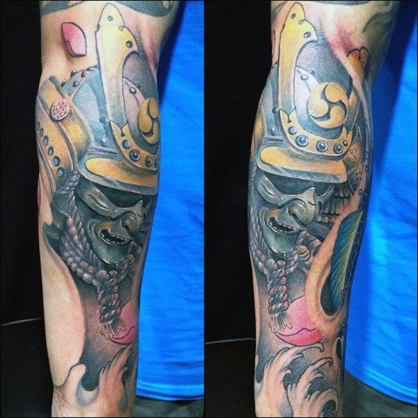 3D like detailed natural looking samurai mask tattoo on forearm