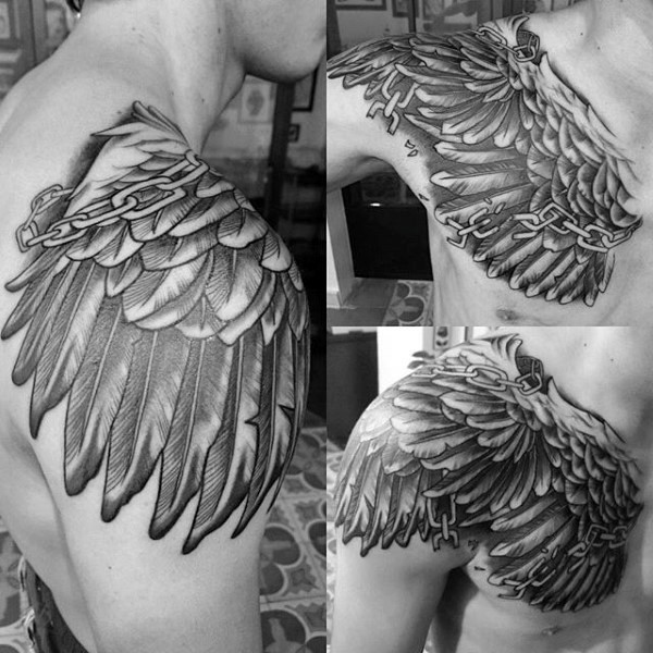 3d like eagle wing shaped chained detailed black ink for Eagle wings tattoo