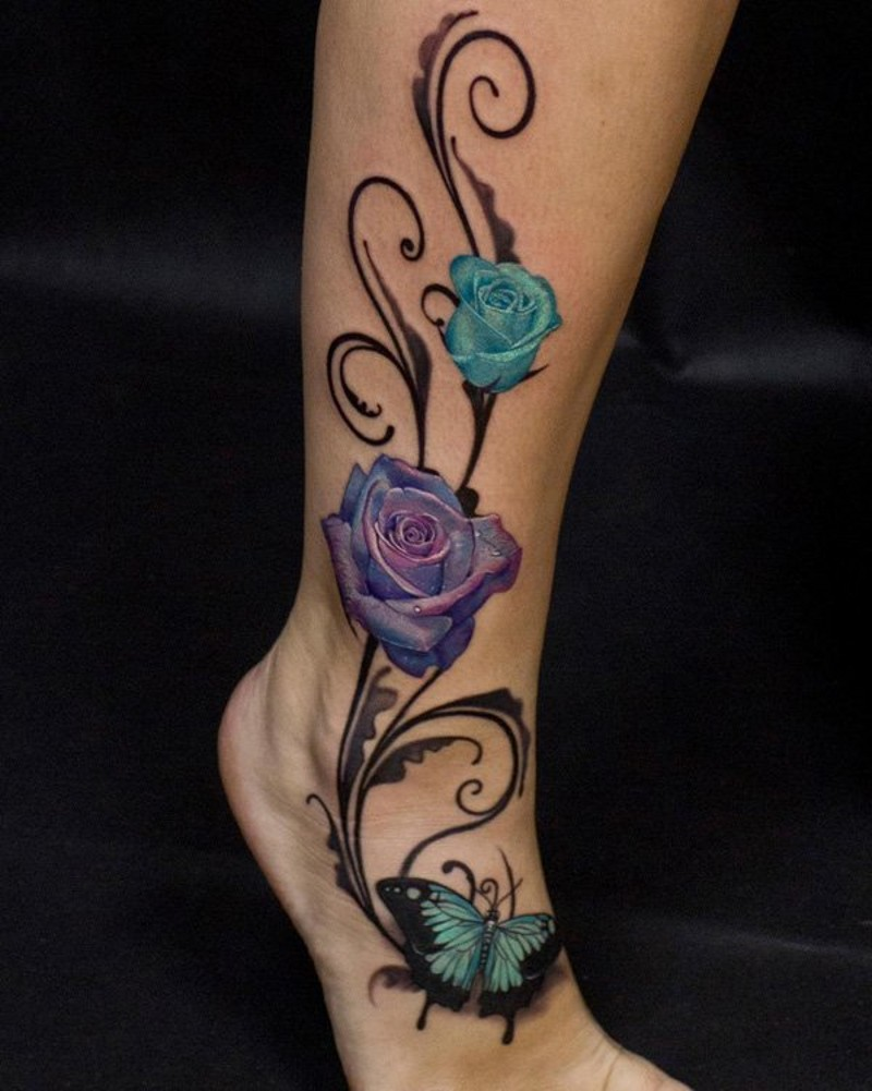 3d like elegant colored roses with butterfly tattoo on ankle. Black Bedroom Furniture Sets. Home Design Ideas