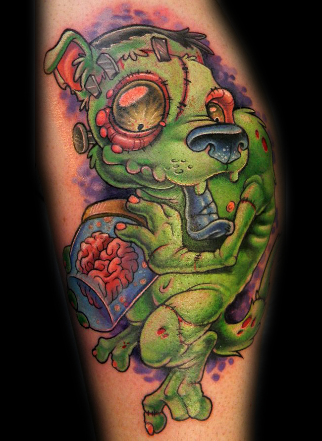 3D like funny looking colored zombie dog tattoo on leg with human brain in can