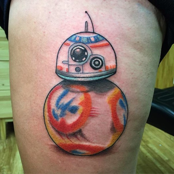 3D like interesting colored little new episode droid thigh tattoo