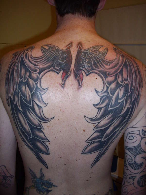 3D like interesting painted and detailed colored big wings tattoo on upper back