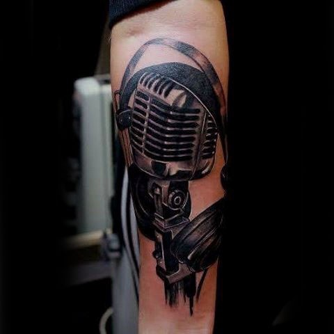 3D like interesting painted black and white detained microphone with headset tattoo on arm