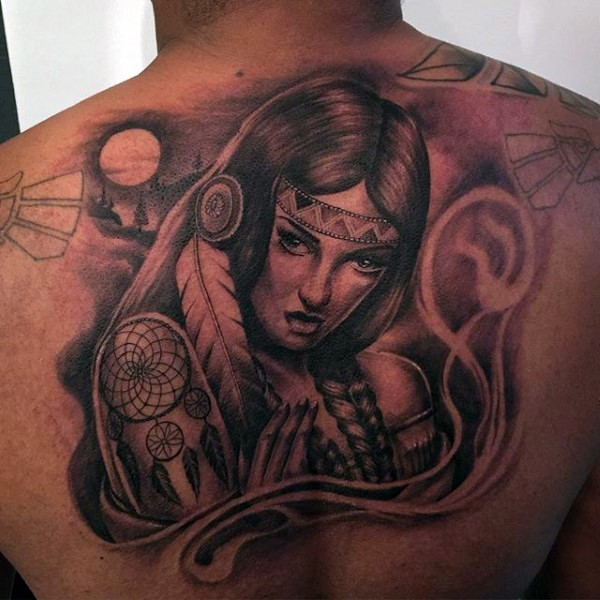 3D like natural looking colored seductive Indian woman tattoo on upper back stylized with dream catcher