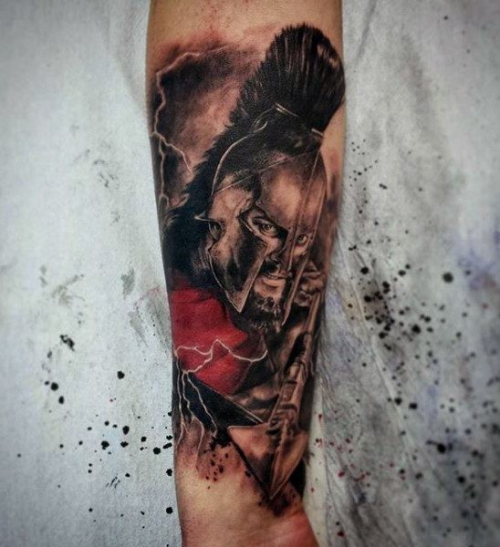 3D like painted and colored firearm tattoo of angry Spartan warrior with pike