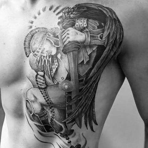 3D like painted black and white antic angel warrior tattoo on chest