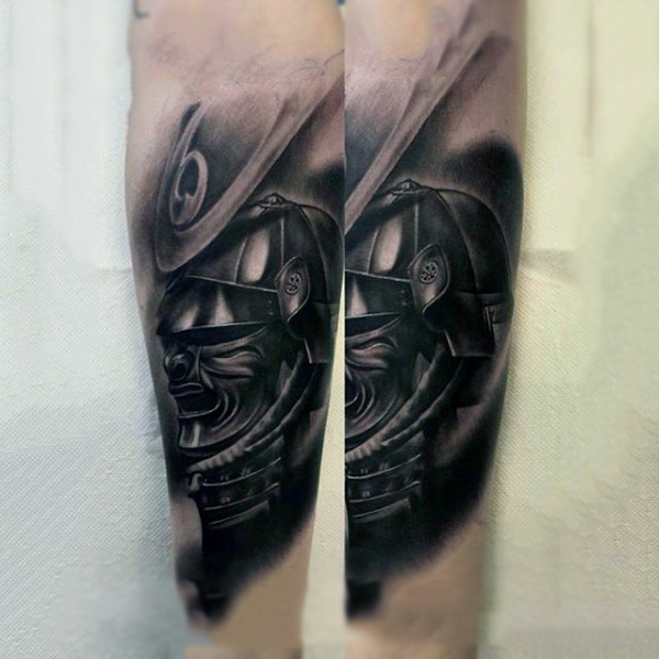 3D like real photo style colored forearm tattoo of samurai warrior helmet