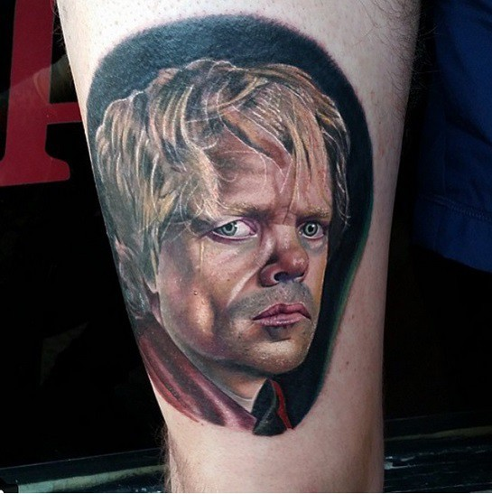 3D like real photo style colored thigh tattoo of Tyrion Lannister