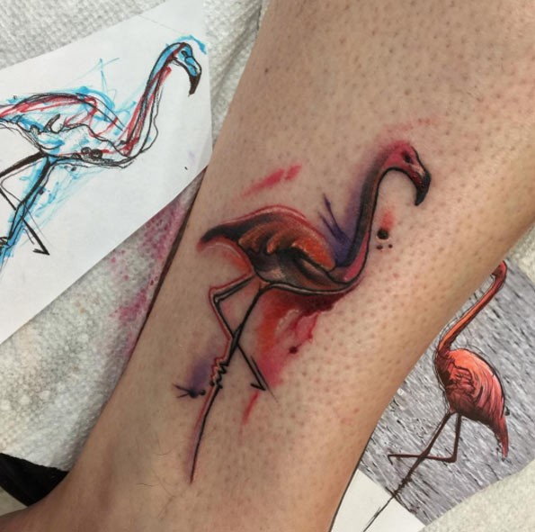 3D like tiny colored ankle tattoo of mystical flamingo bird
