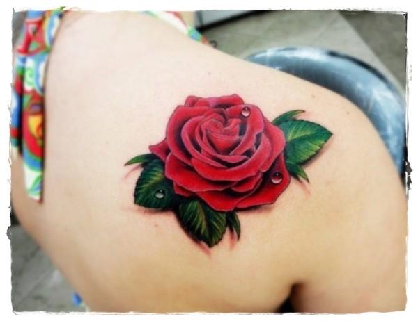 3D solito colorato bella rosa tatuaggio su spalla