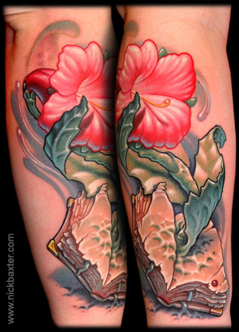 3D like very beautiful flower tattoo on forearm with old book