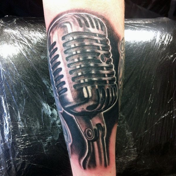 3D like very detailed colored vintage microphone tattoo on arm ...