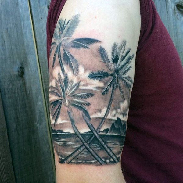 3d like very realistic looking black and white palm trees for Ocean tattoos black and white