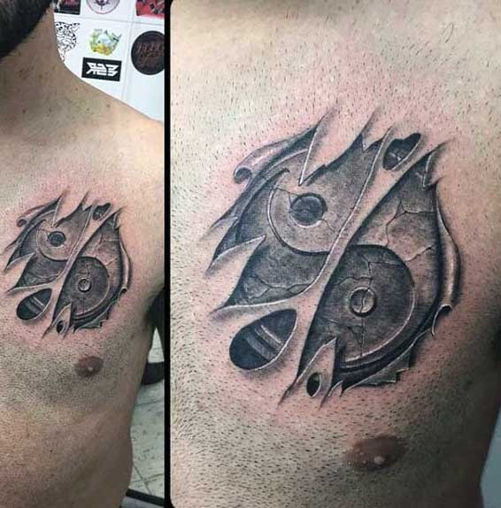 Yin Yang Tattoo Dark Skin: 3D Like Very Realistic Ying Yang Symbol Under Skin Tattoo