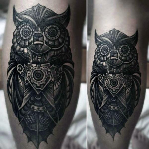 3d mystical very detailed mechanical owl tattoo on leg. Black Bedroom Furniture Sets. Home Design Ideas