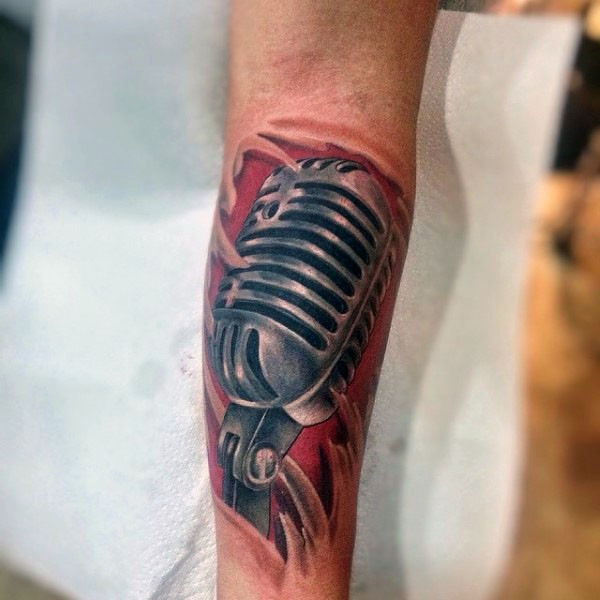 3d natural looking microphone under skin tattoo on arm for Under my skin tattoo