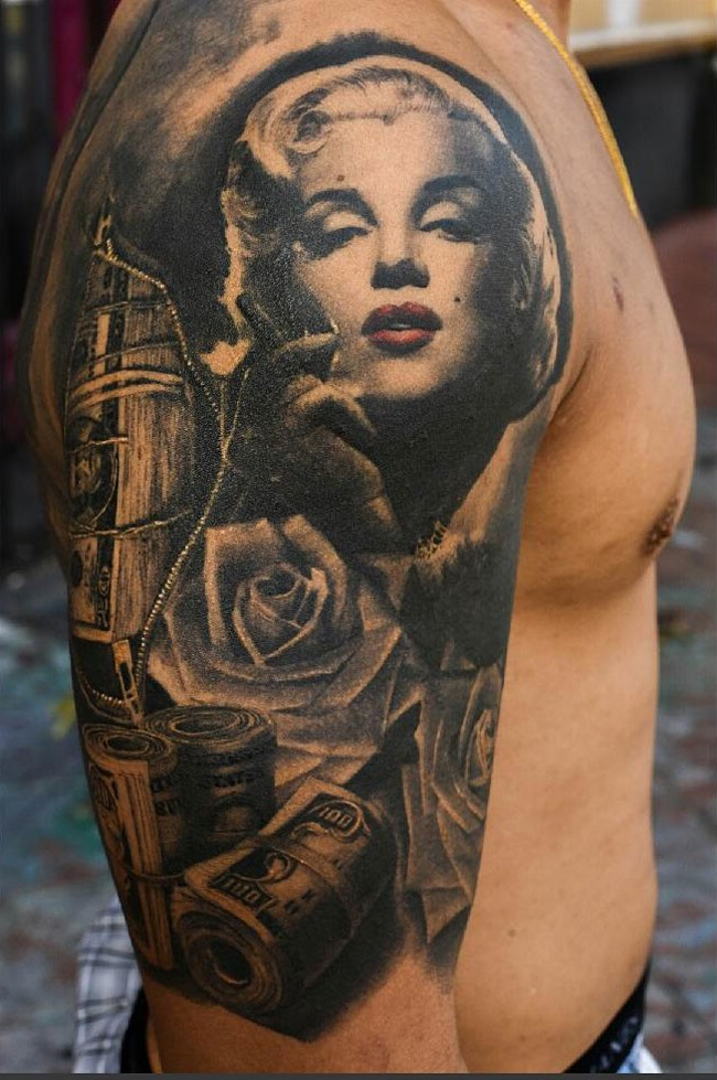 3D natural looking multicolored smoking Merrily Monroe with rose flowers and money tattoo on upper arm area