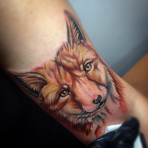 3D original detailed colorful fox head tattoo