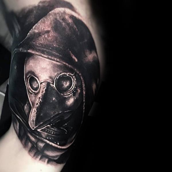 3D portrait style detailed arm tattoo of plague doctor in hood