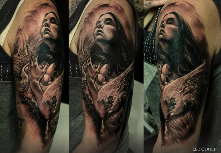 3D real photo like colored mystical shoulder tattoo of woman portrait