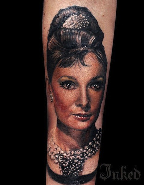 3D real photo like very detailed forearm tattoo of beautiful woman with jewelries