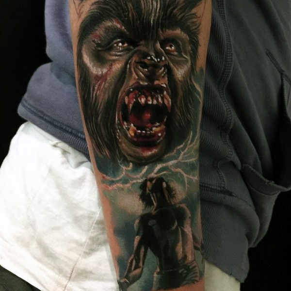 3D realism style colored forearm tattoo of bloody werewolf transformation