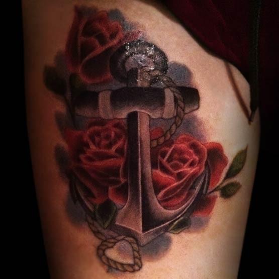 3D realistico ancora con rose rosse tatuaggio